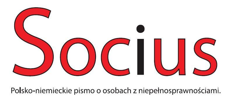 """Logotyp pisma """"Socius"""". Napis Socius, pod spodem tekst """"Polsko-niemieckie pismo o osobach z niepełnosprawnościami"""""""